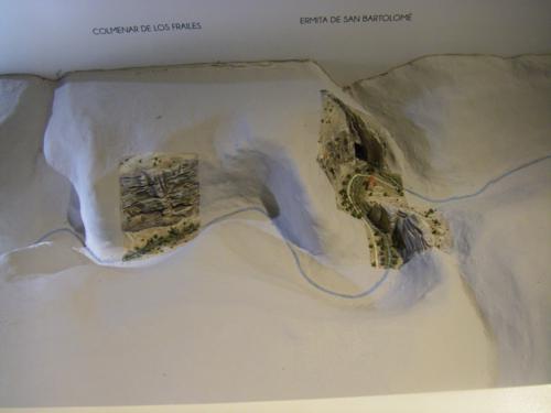 Detalle de la maqueta del Cañón de Río Lobos. Colmenar de los Frailes y Ermita de San Bartolome
