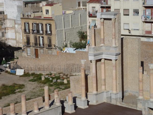 Lateral del Frente Escénico del Teatro Romano de Cartagena