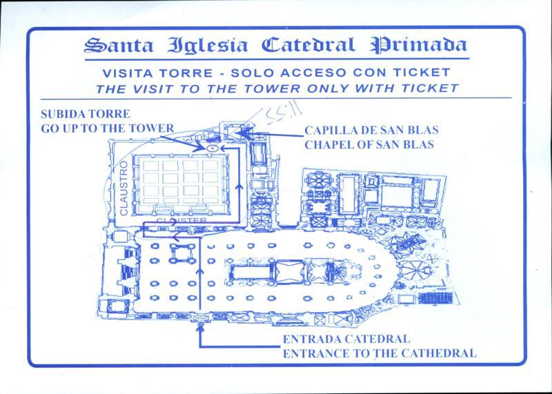 Plano de localización de subida a la torre de la Catedral de Toledo