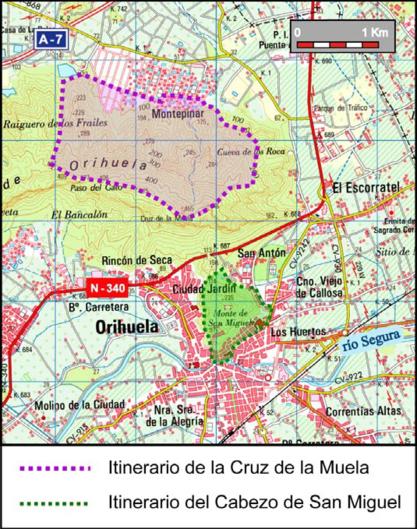 Localización de los dos itinerarios del Geolodía 2014_417x529