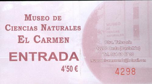 Museo de Ciencias naturales El Carmen (Onda, Castellón). Entrada_500x277