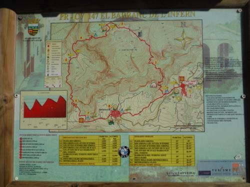 Cartel de información de la ruta PR-CV 147 El Barranc de L´Infern_500x375