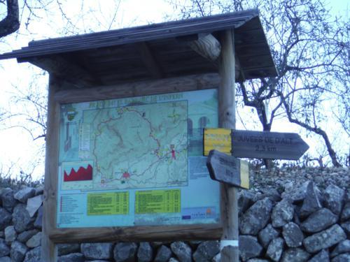 Cartel informativo al final del sendero. Sólo nos falta llegar a Benimaurell_500x375