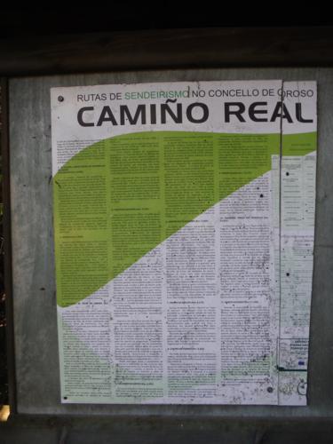 Cartel de Camino Real en el Concello de Oroso.De Hospital de Bruma a Sigüeiro