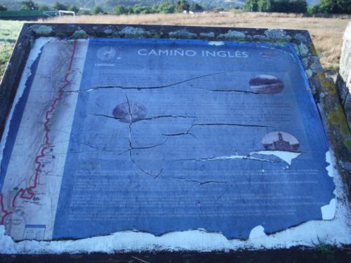 Cartel del Camino de Santiago Inglés en Limiñón. De Betanzos a Hospital de Bruma