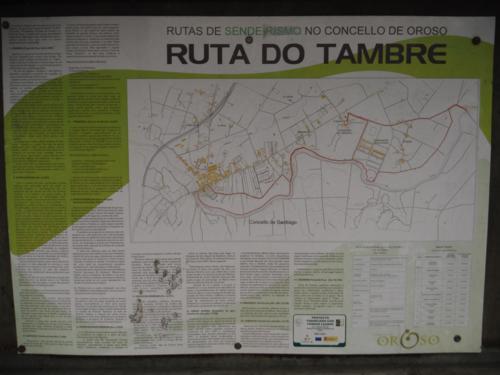 Cartel de Ruta do Tambre, zona por donde vamos a andar. De Sigüeiro a Santiago de Compostela